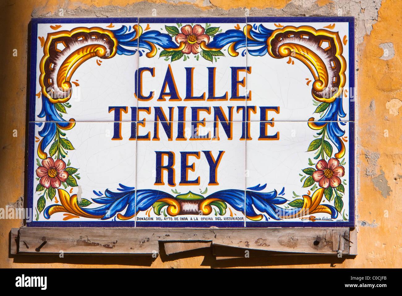 Cuba, Havana. Tile Street Sign, Old Havana. - Stock Image