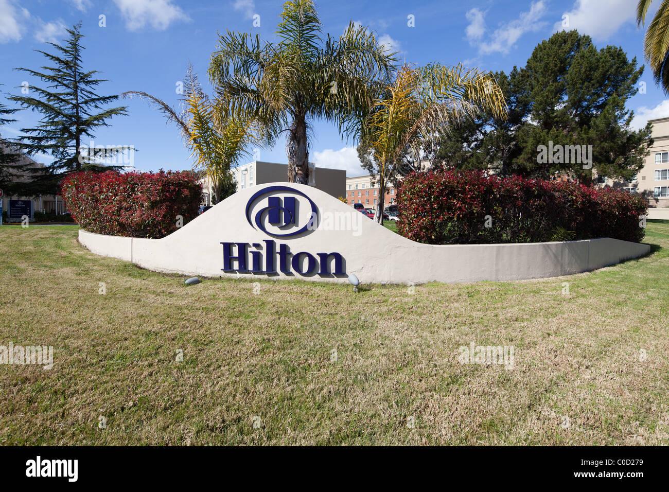 Hilton Hotel sign at the Oakland International Airport (OAK). - Stock Image