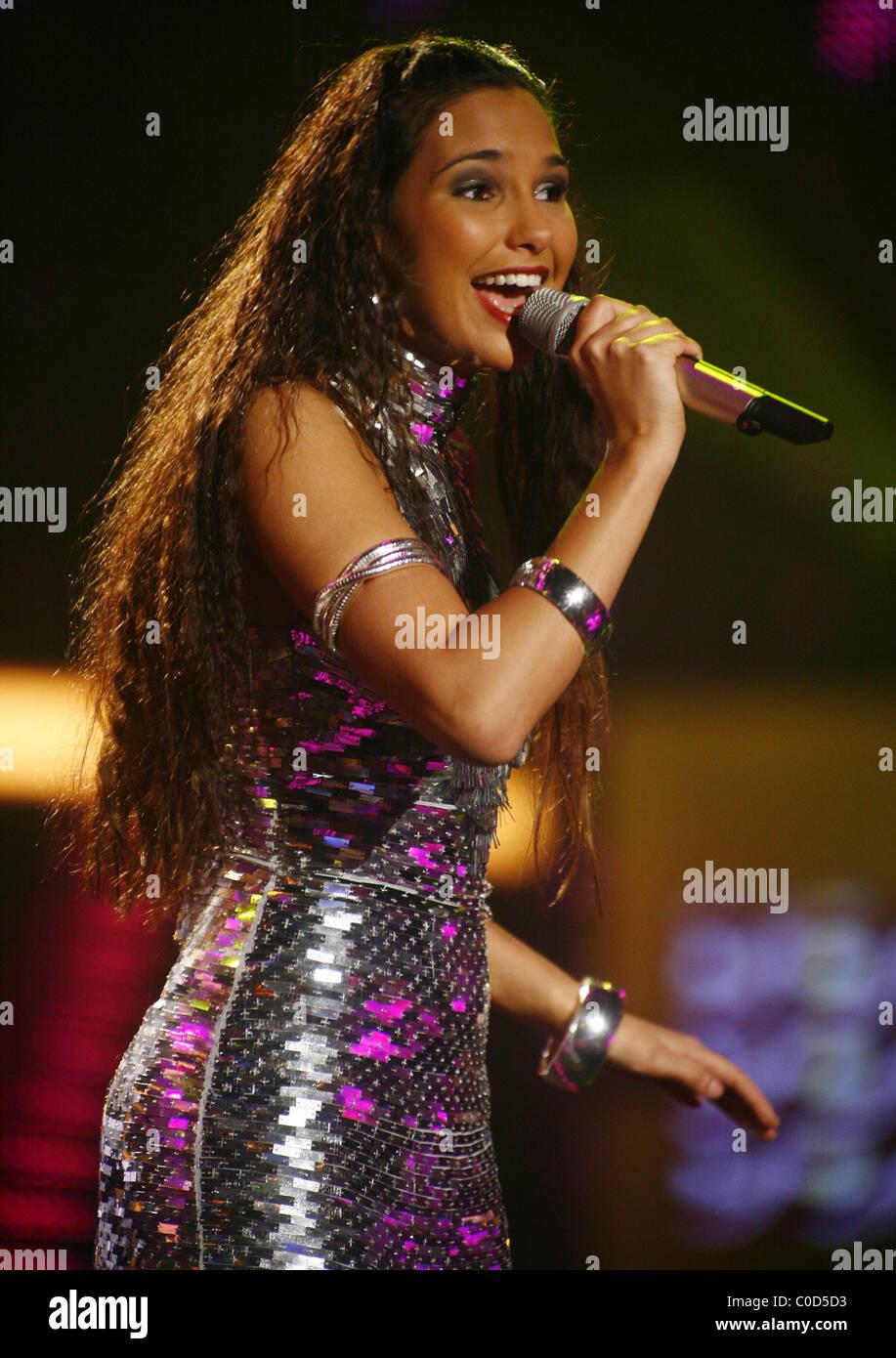 Rania Zeriri at the dress rehearsal for German 'Pop Idol' TV show 'Deutschland sucht den Superstar' - Stock Image