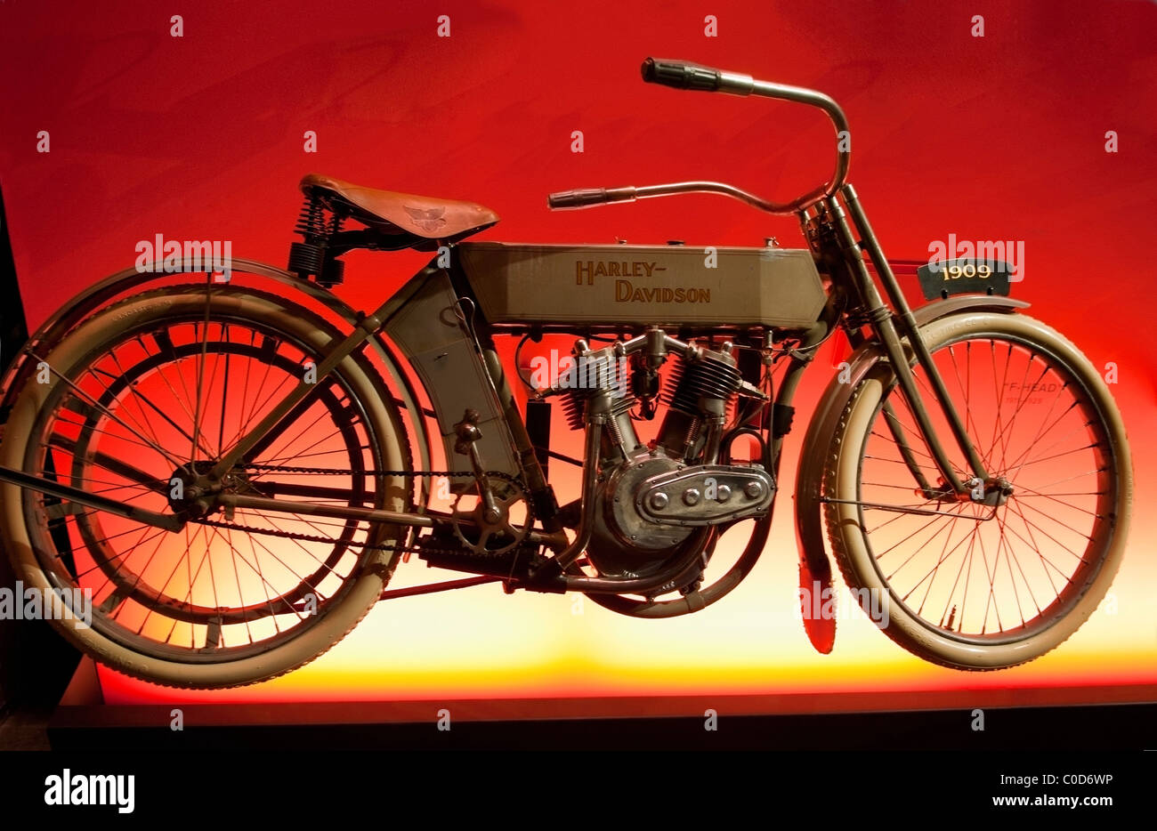 A 1909 Harley Davidson Motorcycle with the first V-Twin engine on display at the Harley Davidson Museum in Milwaukee, - Stock Image