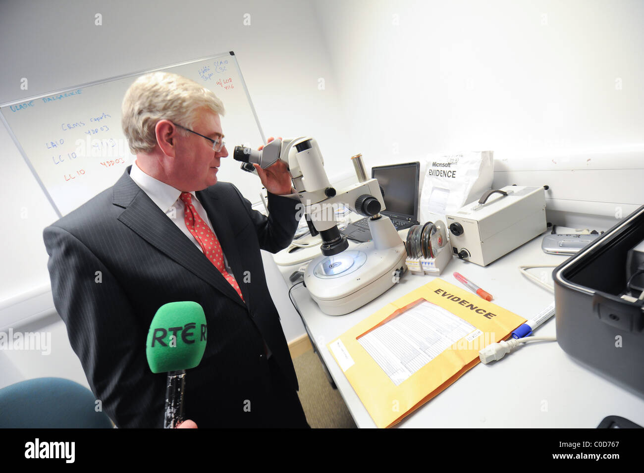 Eamon Gilmore, TD in Maynooth, County Kildare and Microsoft Headquarters in Forensic and Crime Lab of of Microsoft - Stock Image