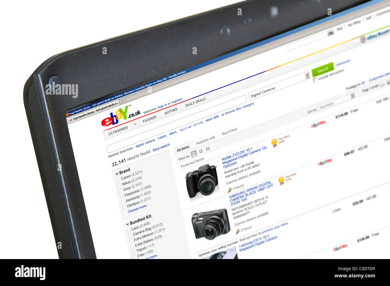 Browsing Digital Cameras For Sale On Ebay Co Uk On A Laptop Computer Stock Photo Alamy