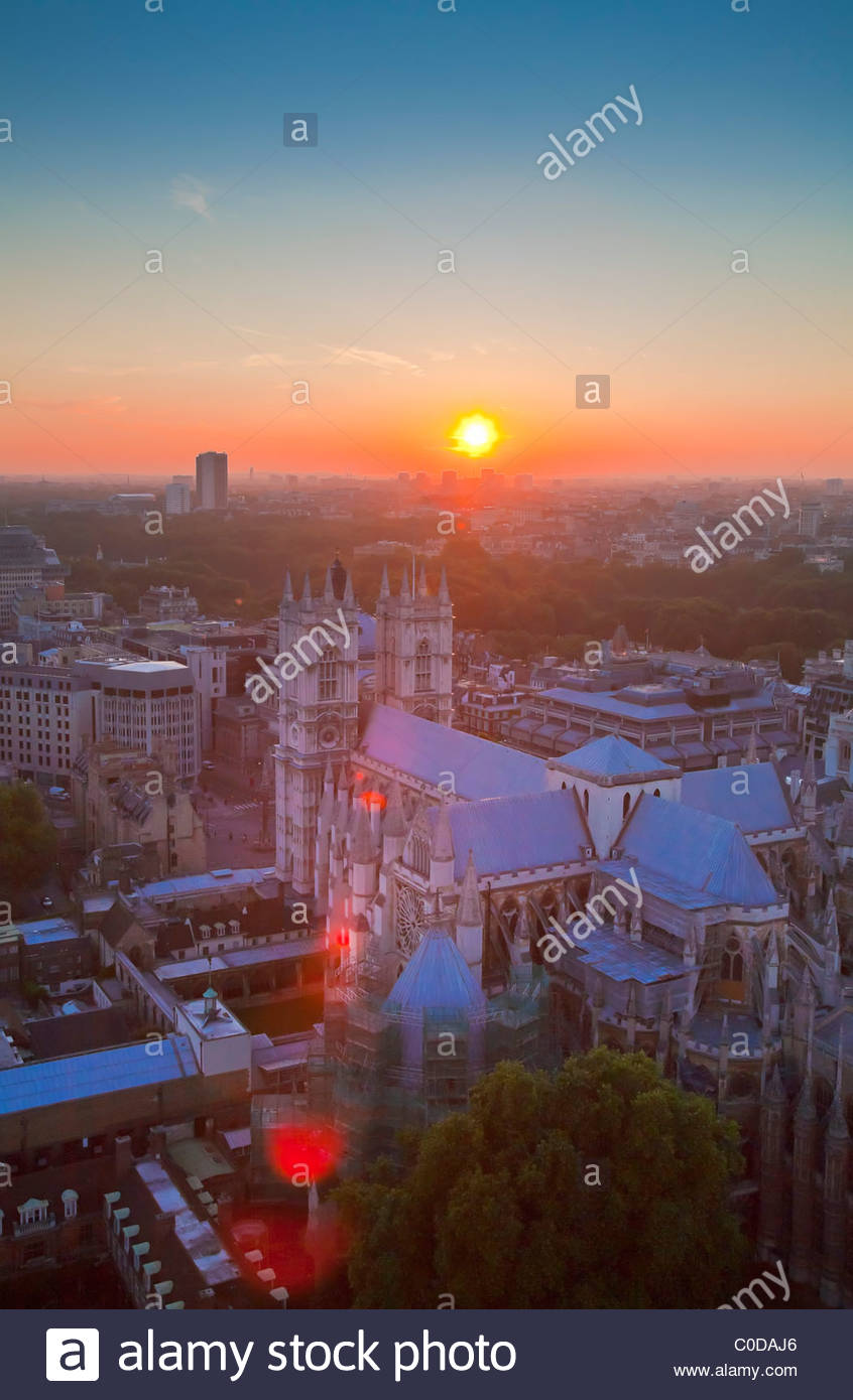 Westminster Abbey seen from Victoria Tower at sunset, London, UK - Stock Image