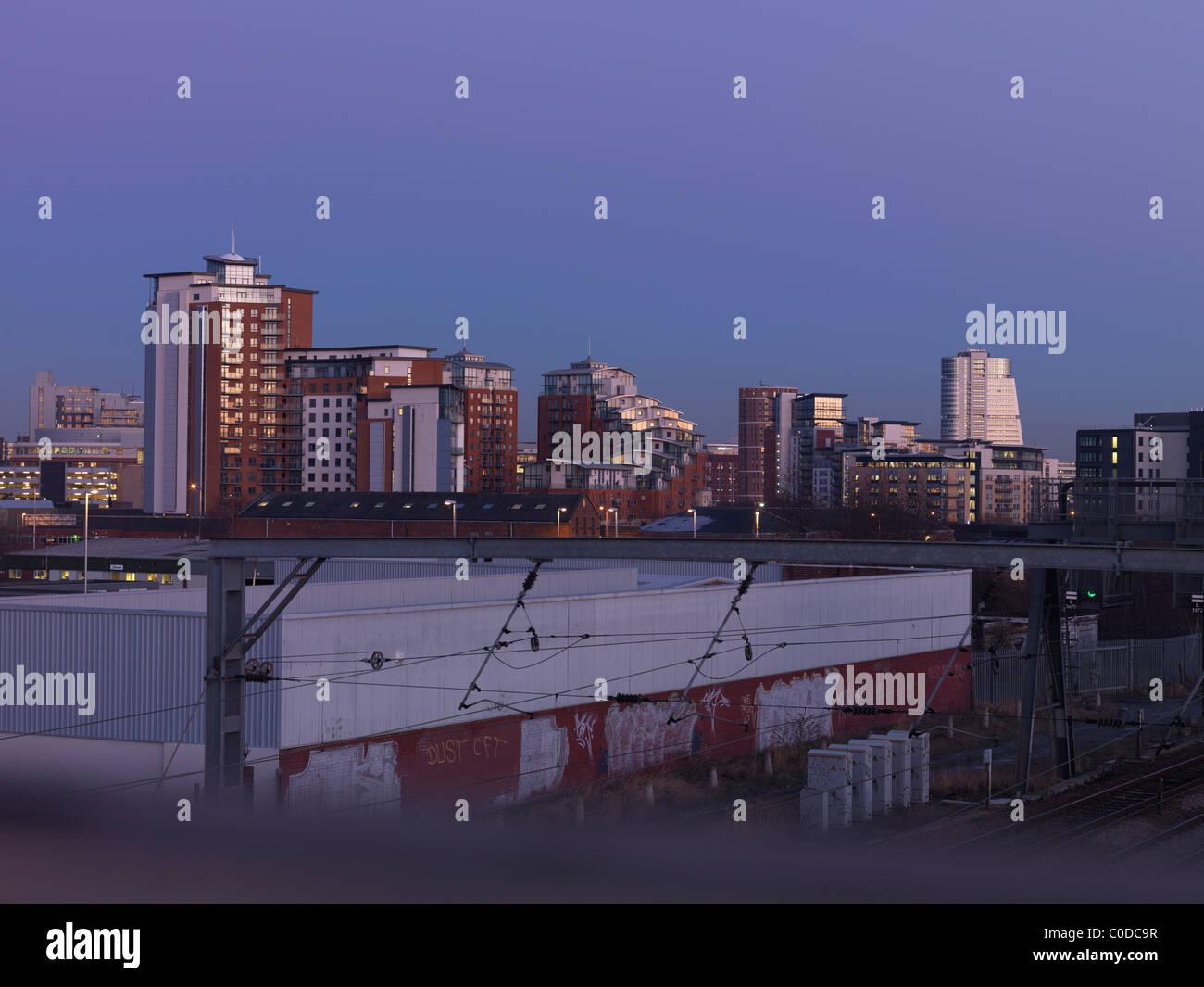 Leeds City Centre from Armley railway bridge - Stock Image