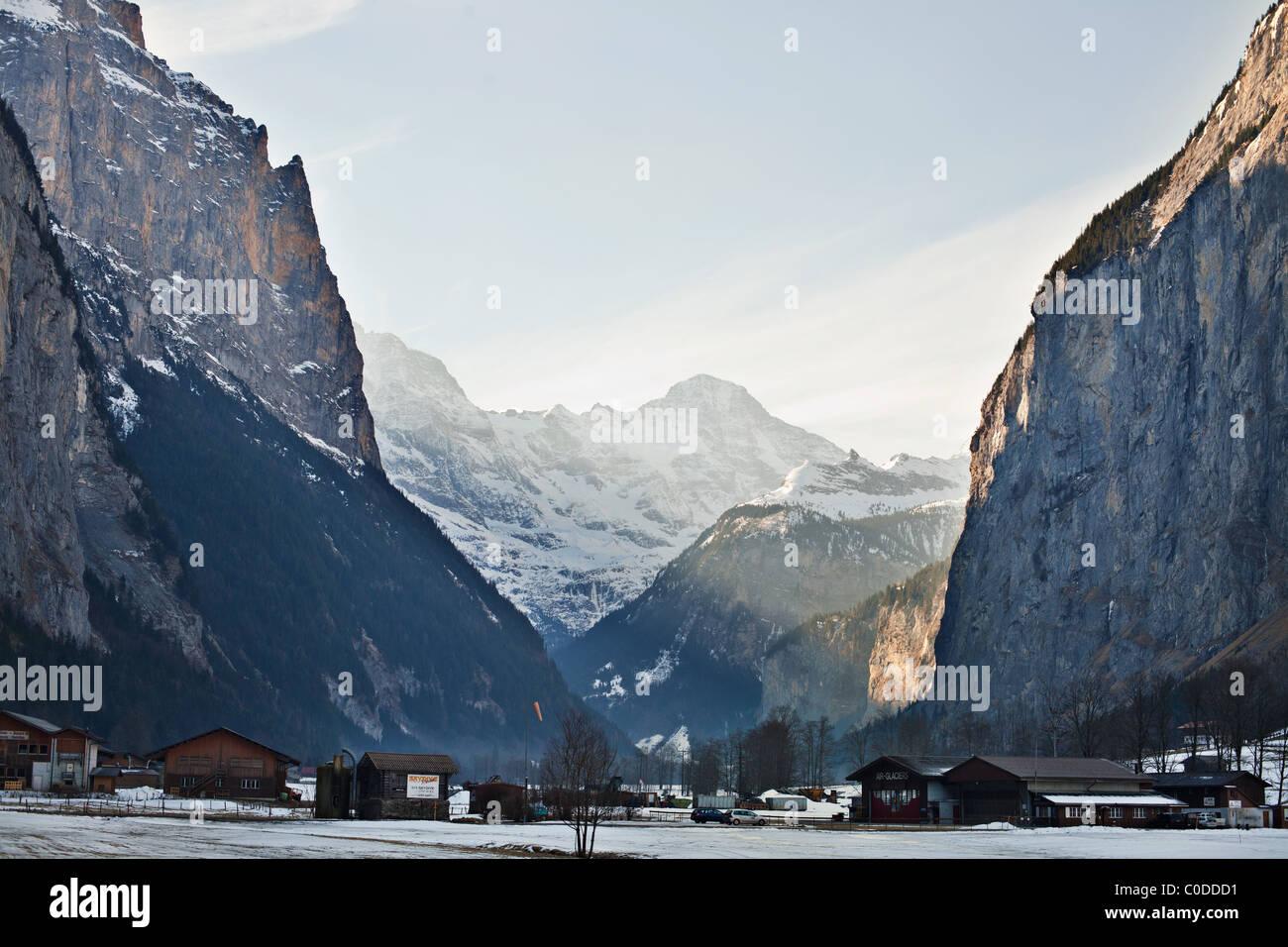 Lauterbrunnen valley in Swiss Alps Stock Photo