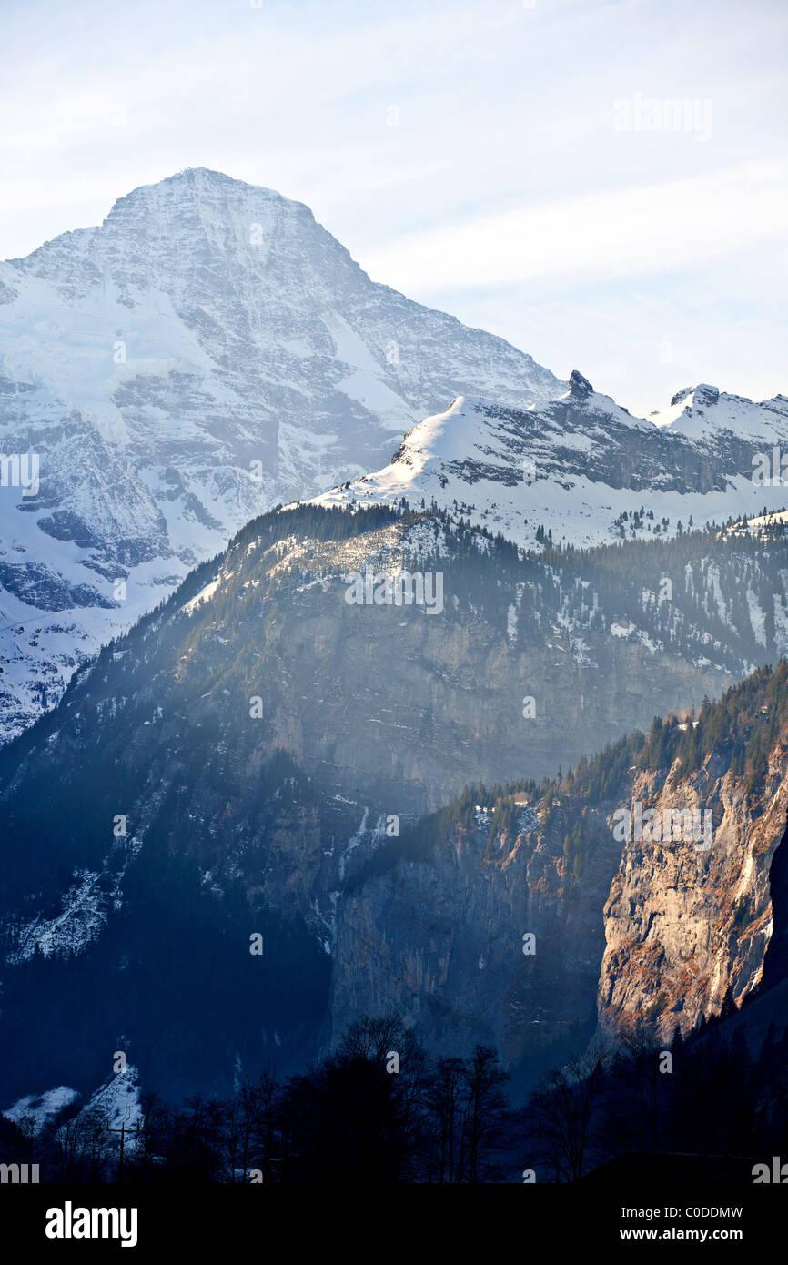 Lauterbrunnen valley in Swiss Alps - Stock Image