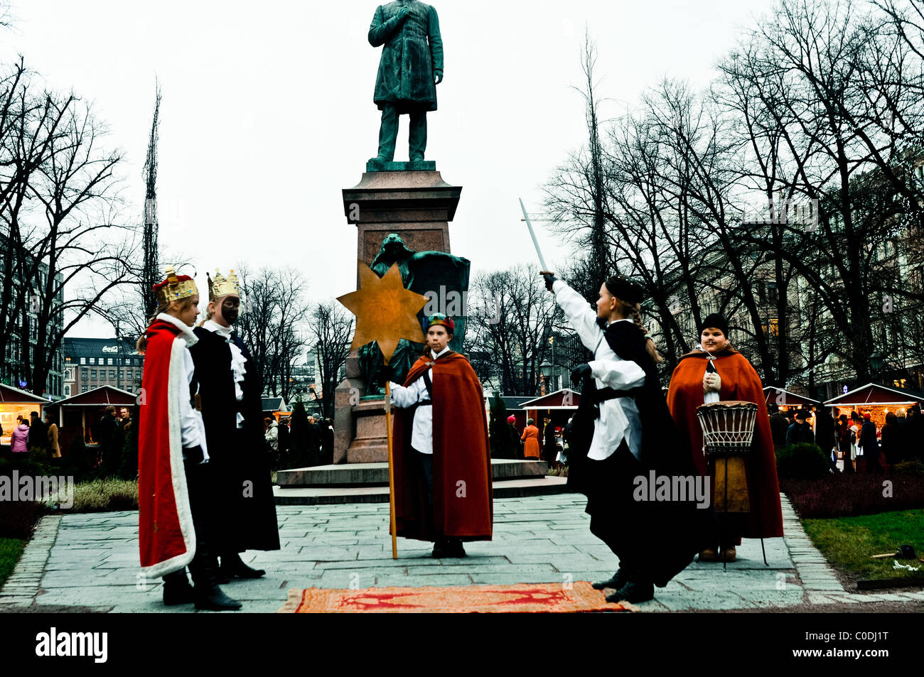 daily life Helsinki, Christmas street theater performance - Stock Image