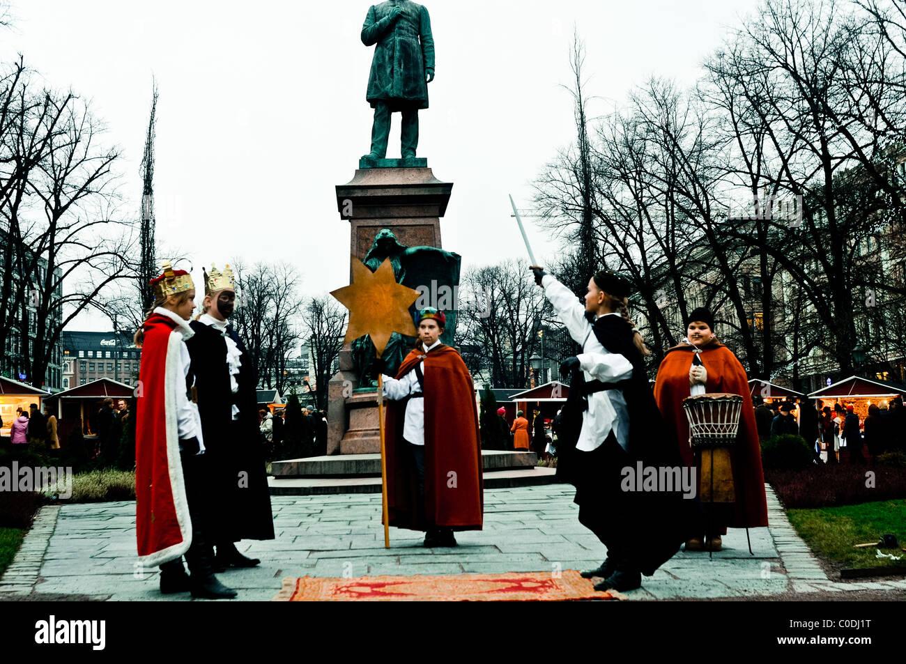 daily life Helsinki, Christmas street theater performance Stock Photo