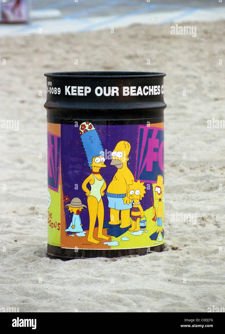 The Simpsons rubbish bin on Venice Beach, Los Angeles, California. - Stock Image