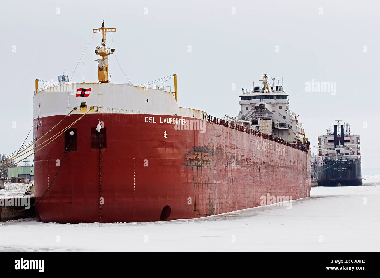 The CSL Laurentien and Canadian Olympic in Winter Harbour in Port Colborne, Ontario, Canada. Feb. 2/2011. - Stock Image
