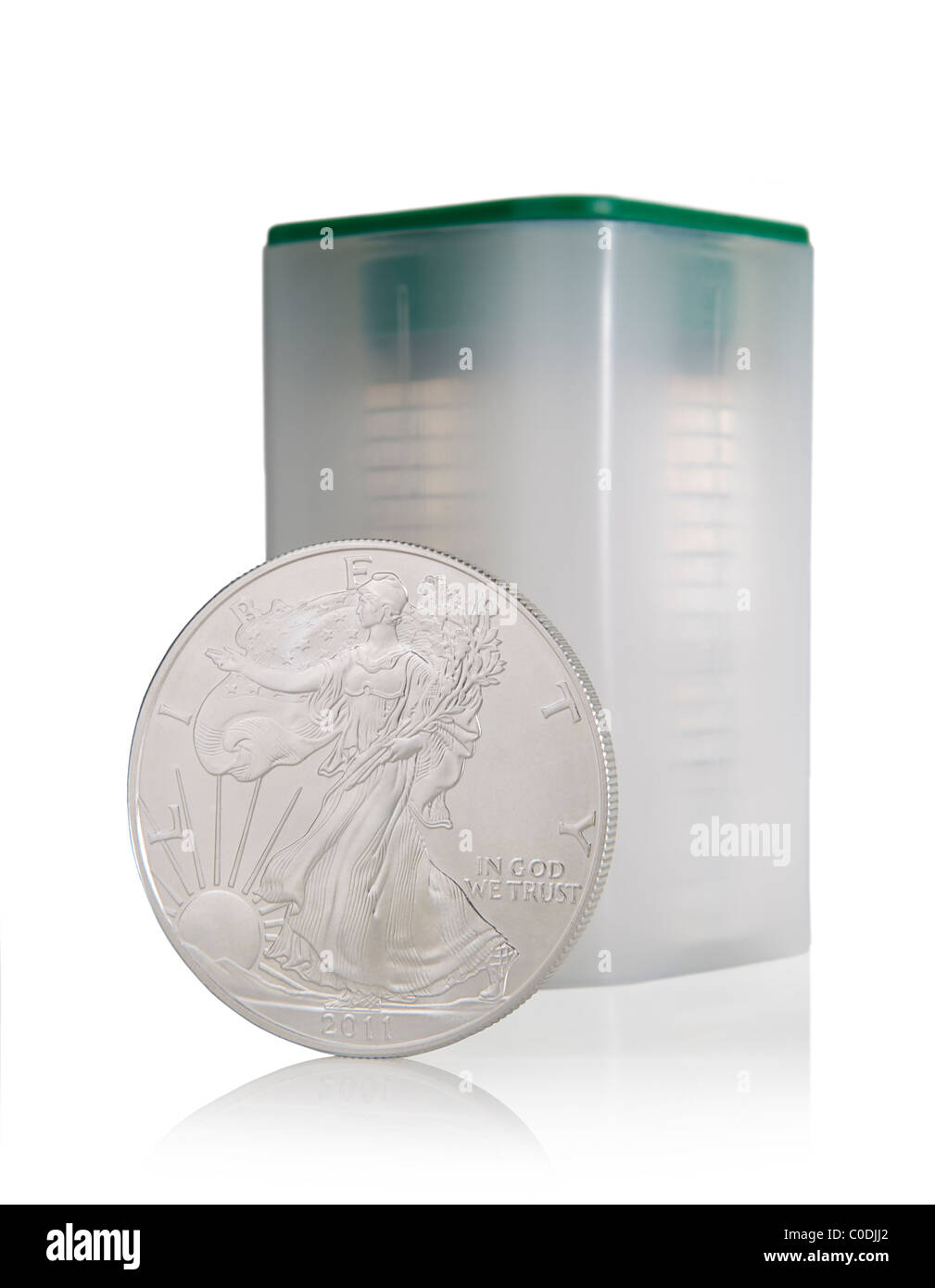 20 coin tube and a single 2011 Walking Liberty US silver Eagle coin - Stock Image