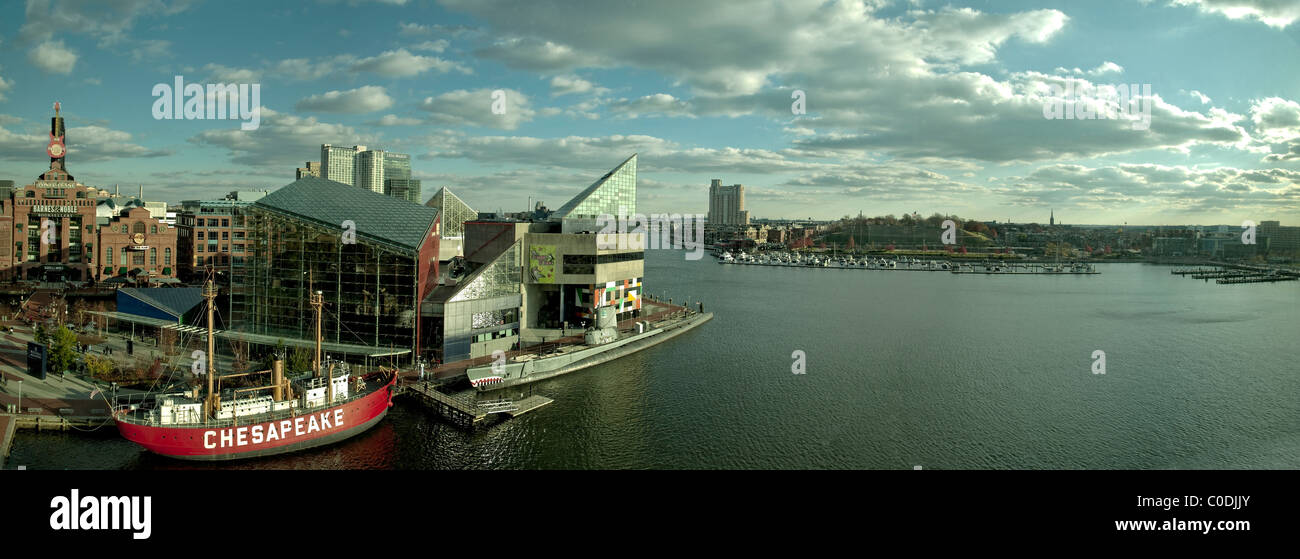 Baltimore Harbor Panorama, Baltimore, MD., USA, toward the South. Includes the Baltimore Aquarium & Federal - Stock Image