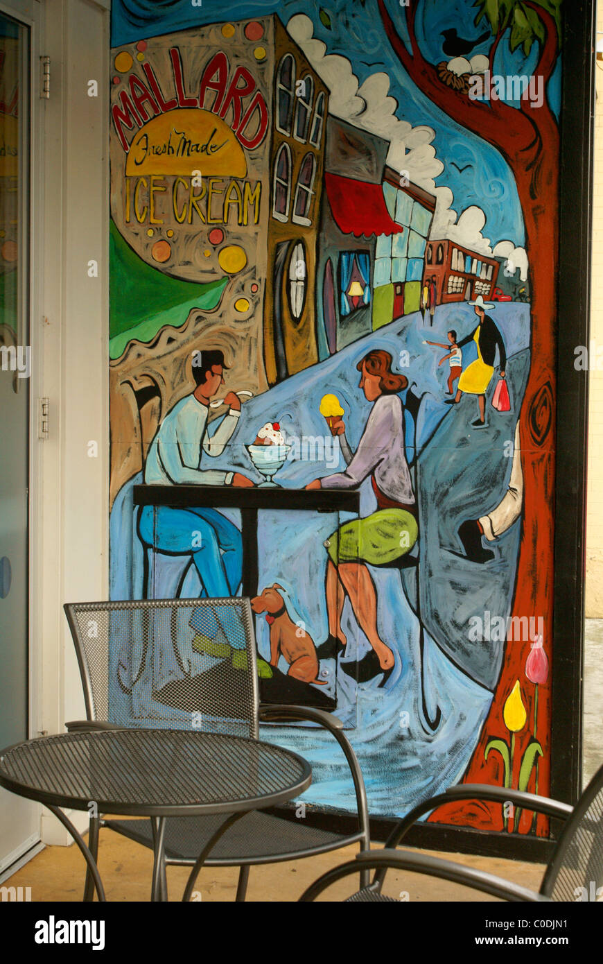 Mural Showing A Couple Eating Ice Cream At An Outdoor Cafe