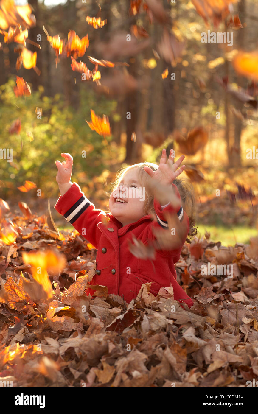 Little girl playing in the fall leaves - Stock Image
