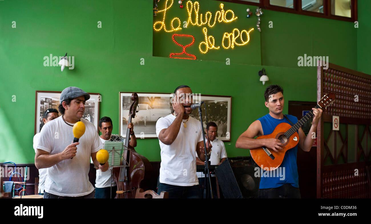 Cuban music in bar and Cuba Restaurants Old Havana - Stock Image