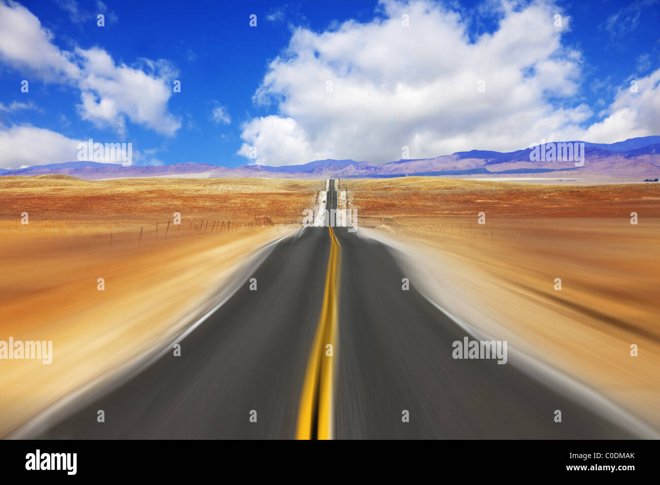 Mirage on high speed in desert - Stock Image