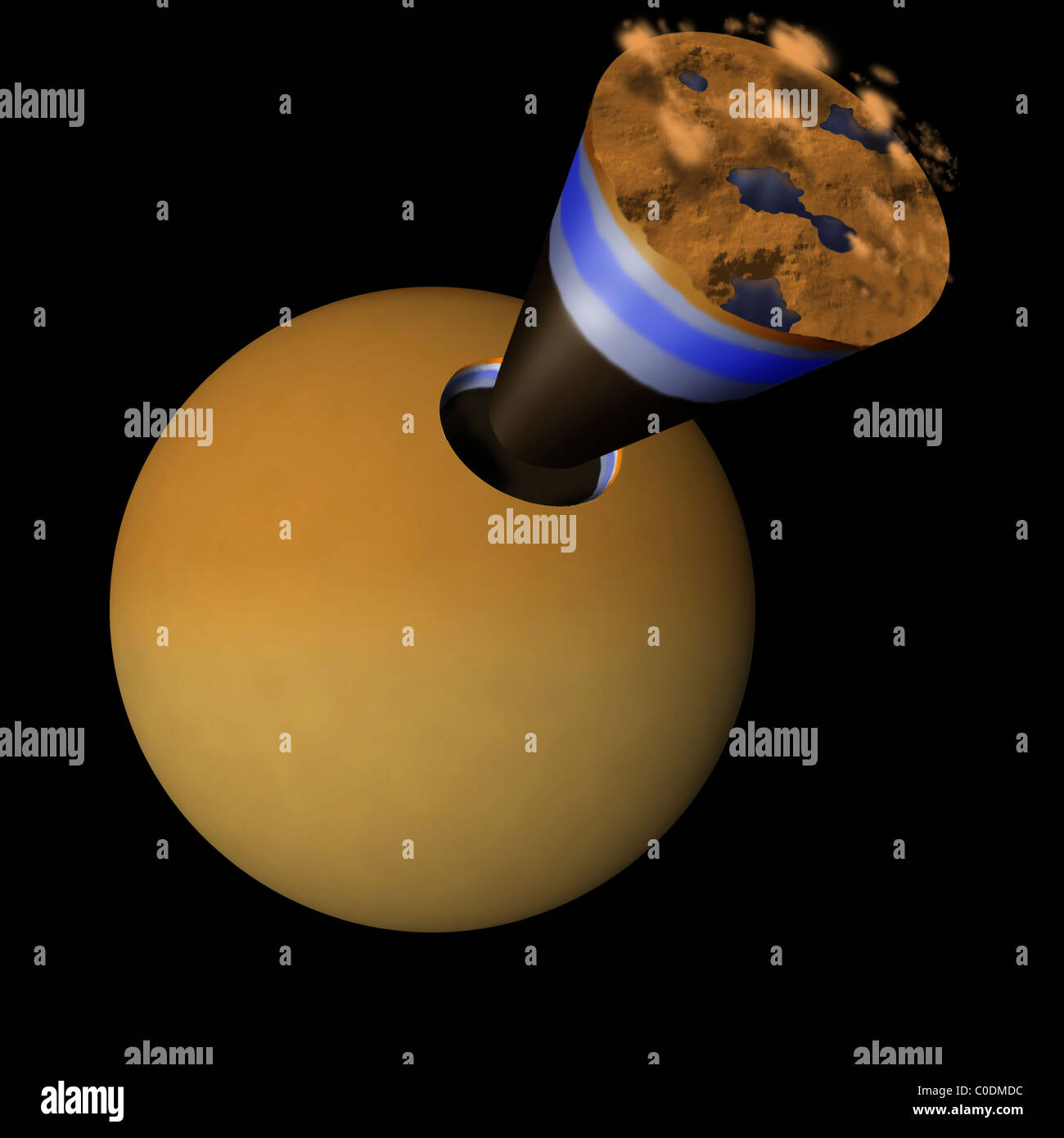 A schematic showing the layers of Titan: an icy crust beneath which may lie liquid water and a solid core. Stock Photo