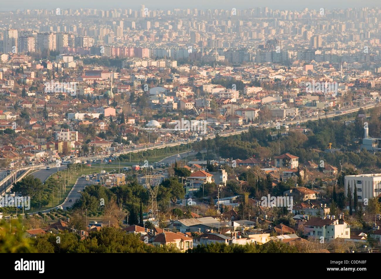 antalya turkey turkish city cities sprawl sprawling urban landscape high rise building conurbation conurbations - Stock Image