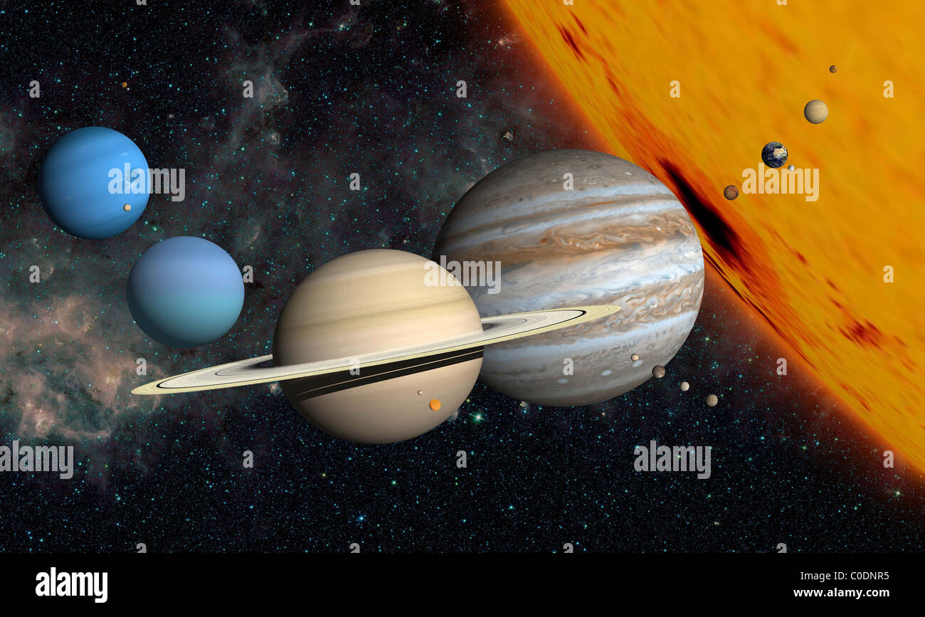 The planets and larger moons to scale with the Sun. - Stock Image
