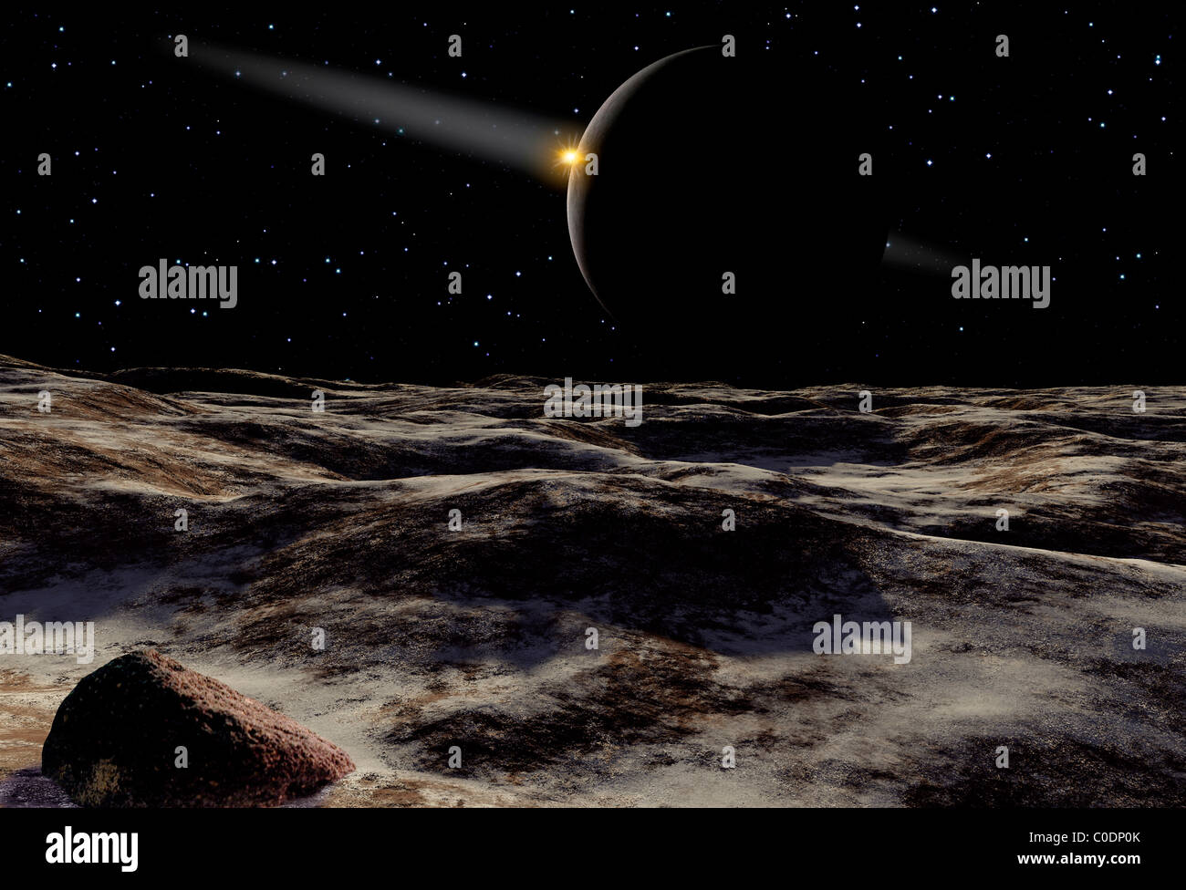 Pluto Seen From The Surface Of Its Moon Charon Stock Photo