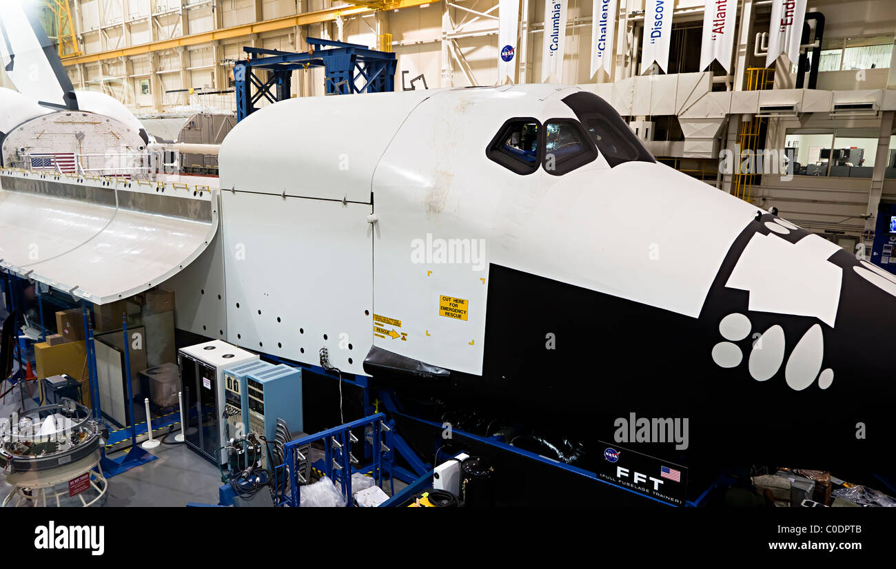 Shuttle in the Space Vehicle Training and Mockup Facility NASA Space Center Houston Texas USA - Stock Image