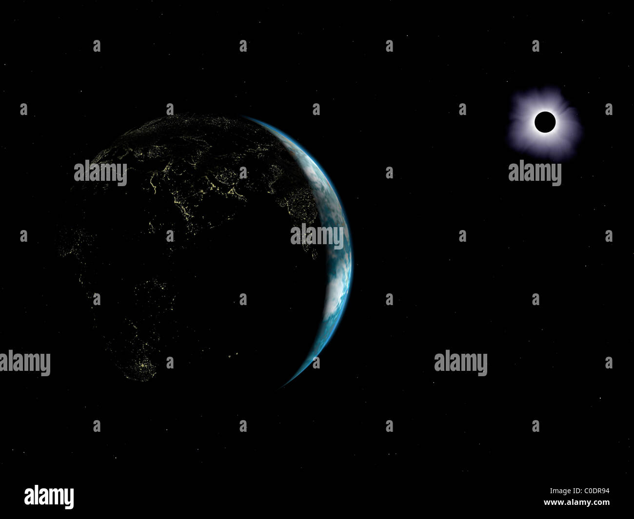 Illustration of the city lights on a dark Earth during a solar eclipse. - Stock Image