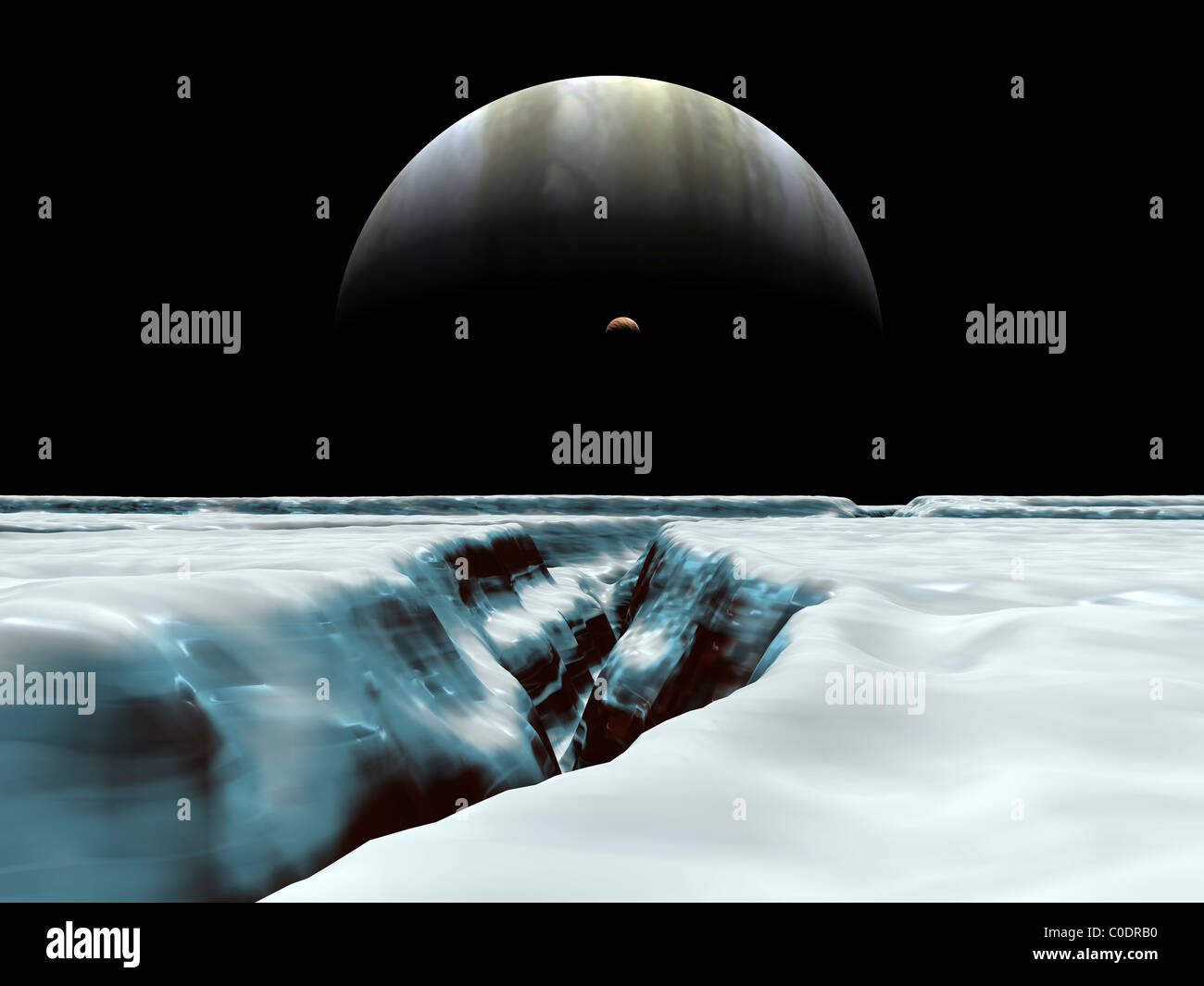 A crescent Jupiter and volcanic satellite, Io, hover over the horizon of the icy moon of Europa. - Stock Image