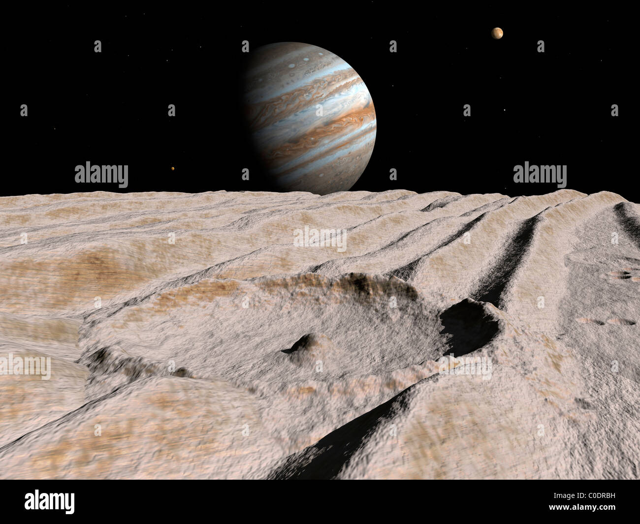 Artist's concept of an impact crater on Jupiter's moon Ganymede, with Jupiter on the horizon. - Stock Image