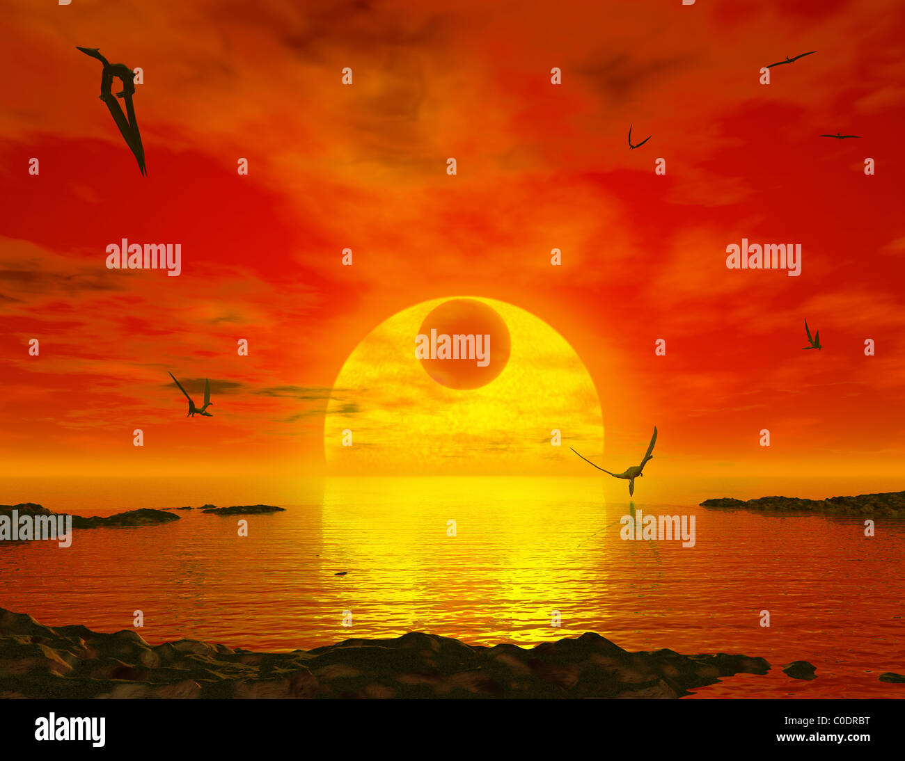 Flying life forms grace the crimson skies of the earth-like extrasolar planet Gliese 581 c. Stock Photo