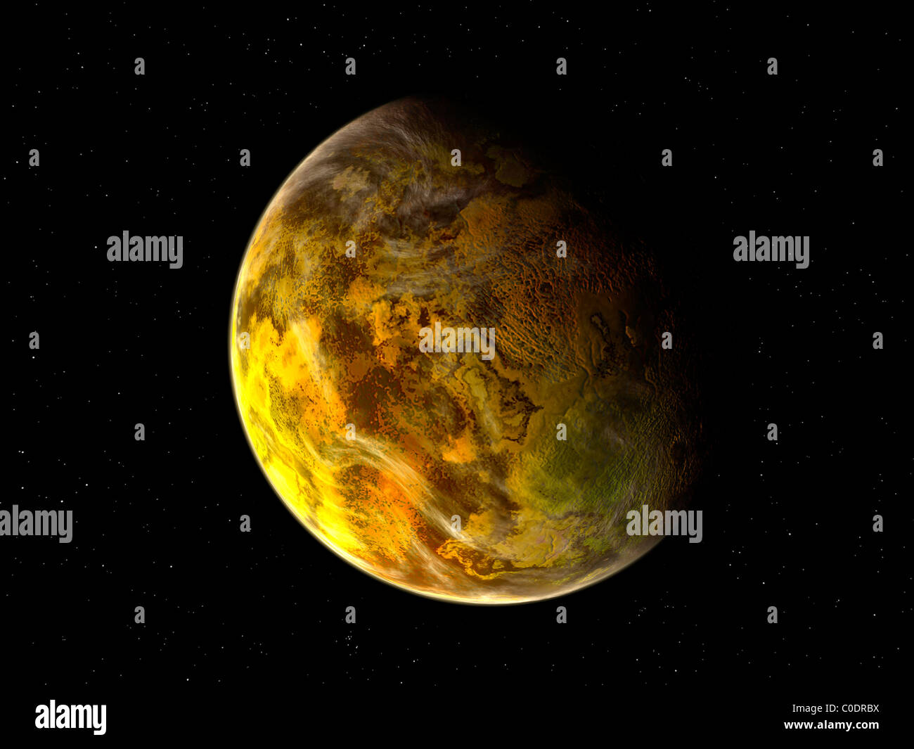 Illustration of a rocky and variegated extrasolar planet, Gliese 581 c. - Stock Image