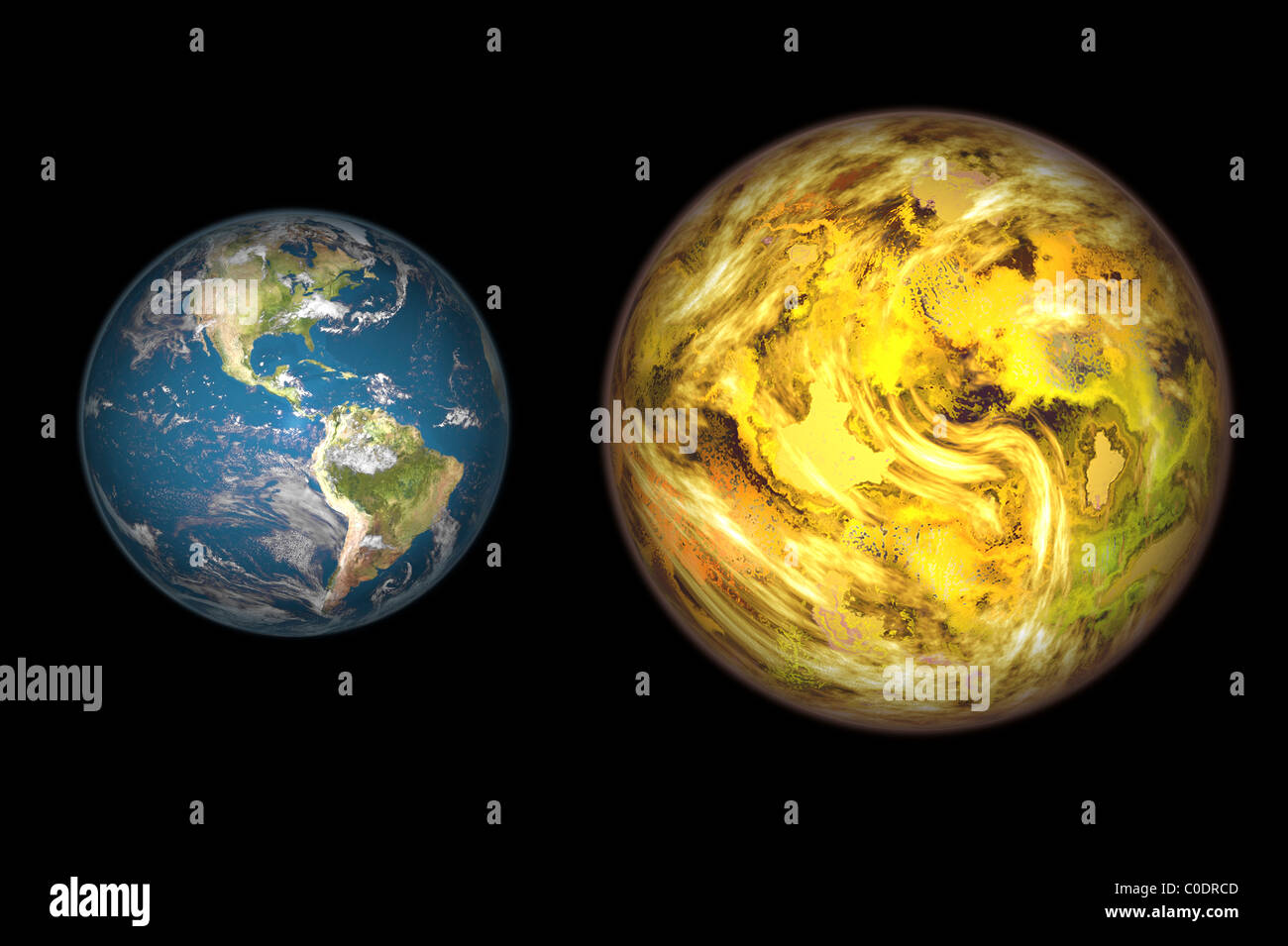 Illustration comparing the size of extrasolar planet Gliese 581 c with that of the Earth. - Stock Image
