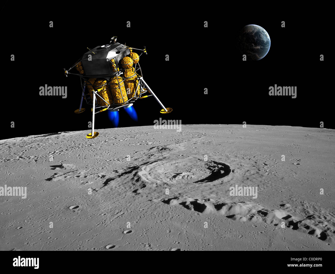 A lunar lander begins its descent to the moon's surface from an altitude of 40,000 feet. - Stock Image