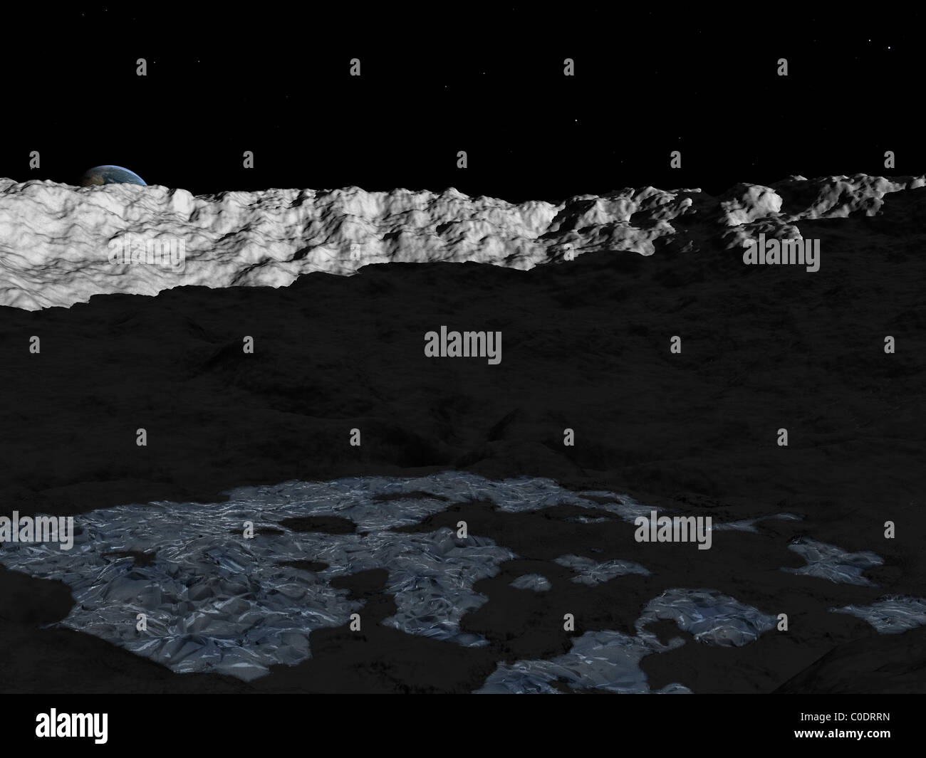 Illustration of a deep crater on the surface of the moon. - Stock Image