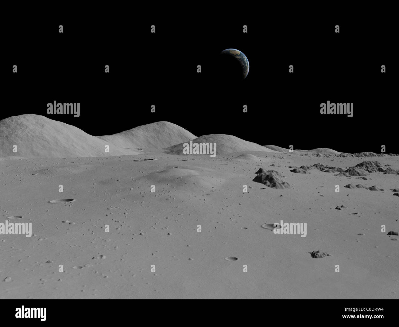 Artist's concept of a view across the surface of the Moon towards Earth in the distance. - Stock Image