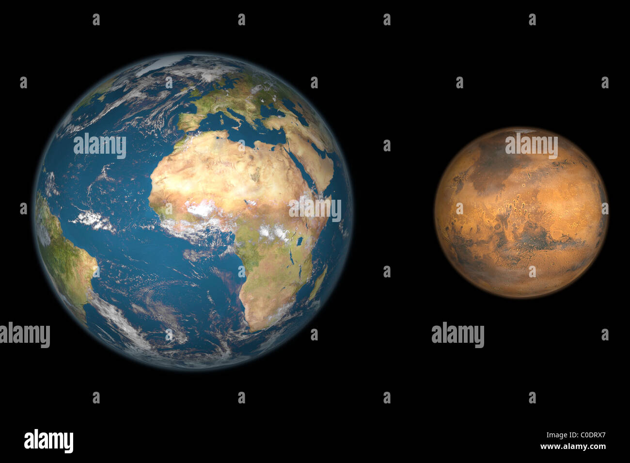 Artist's concept comparing the size of Mars with that of the Earth. - Stock Image