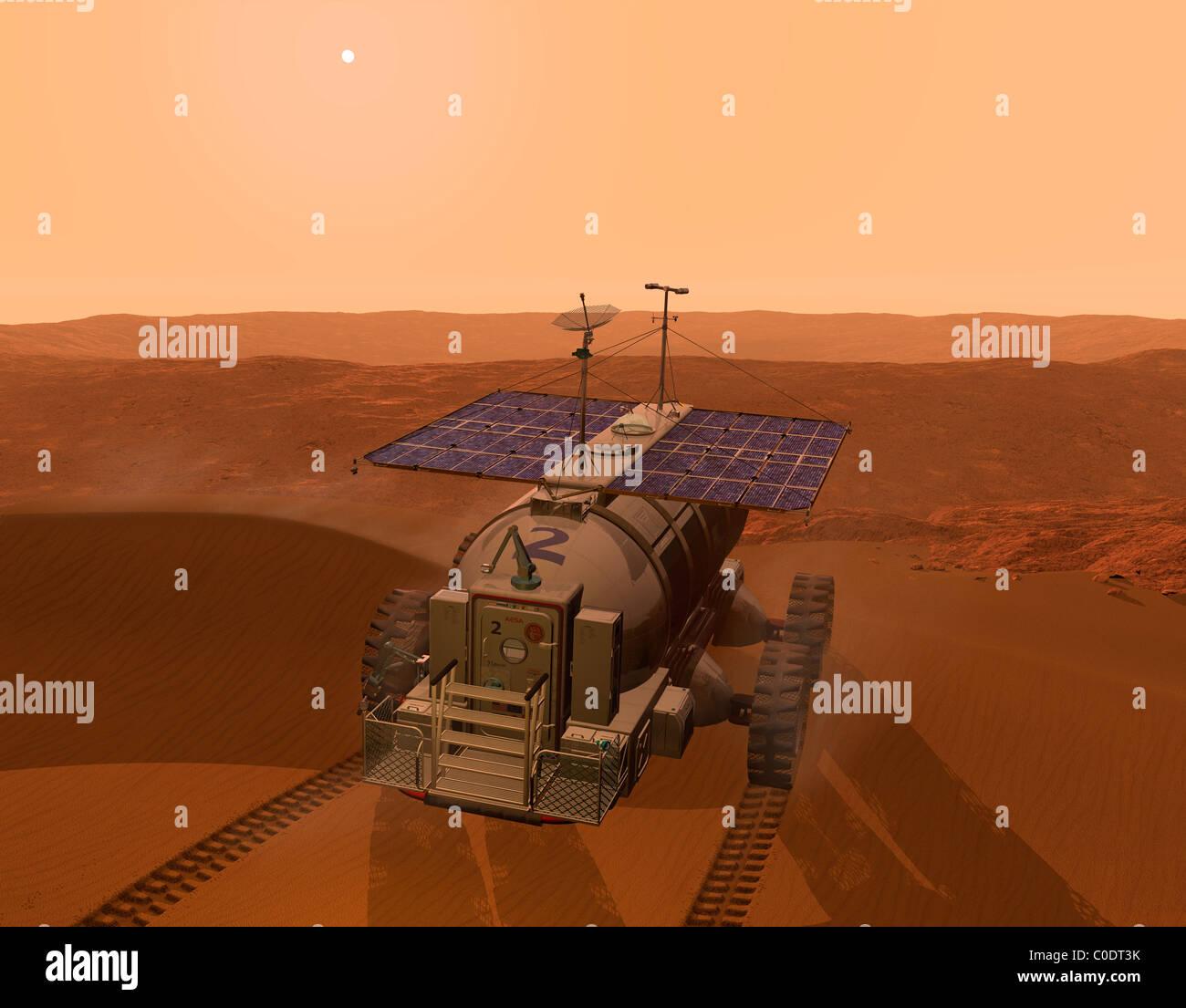 Artist's concept of a martian rover. - Stock Image