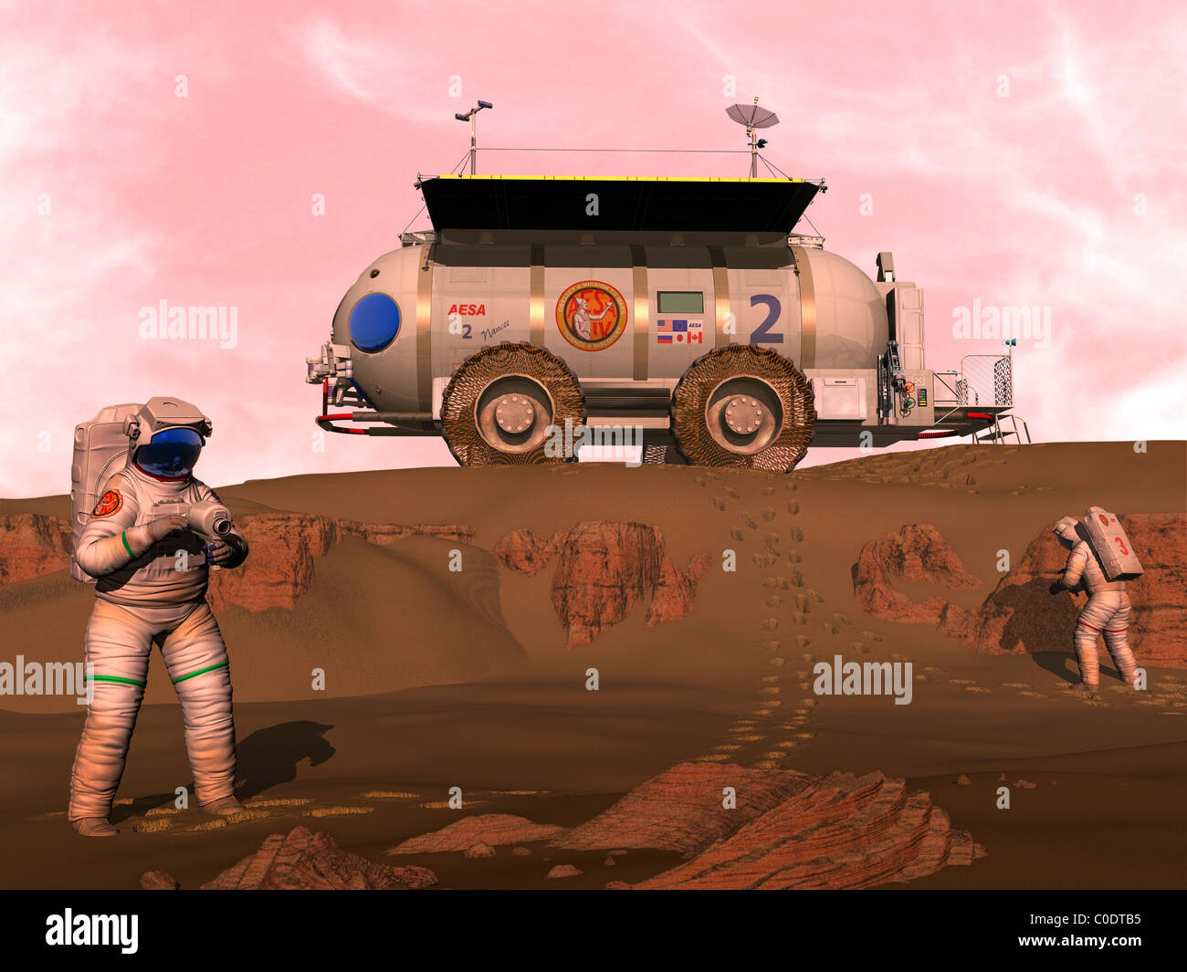 Illustration of astronauts examining an outcrop of sedimentary rock on a Martian dune field. Stock Photo