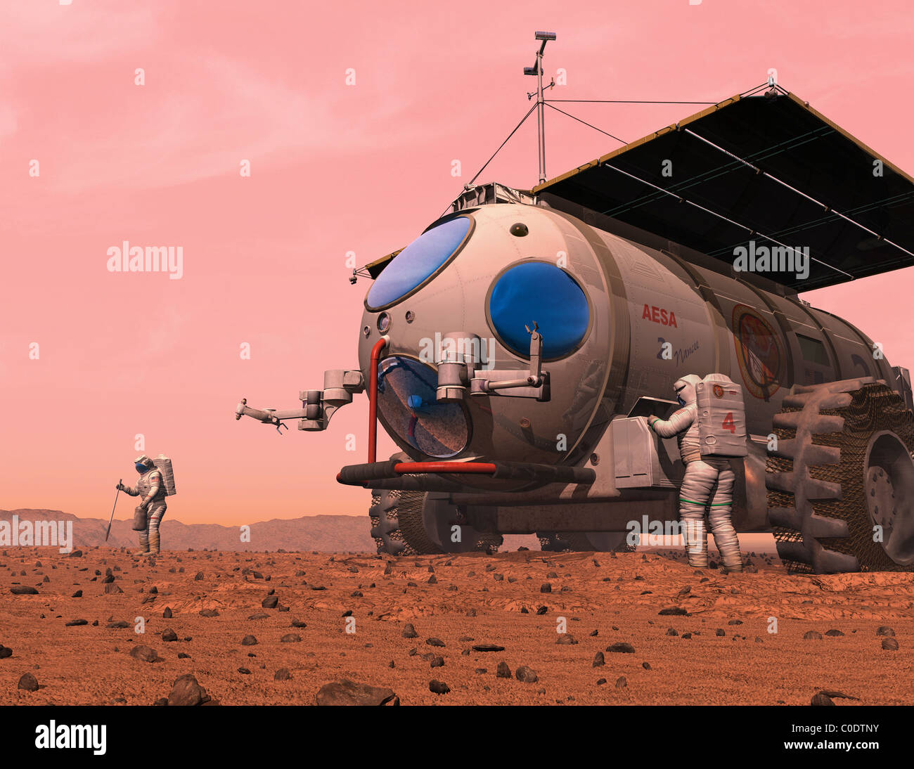 Artist's concept of how a martian motorhome might be realized. - Stock Image
