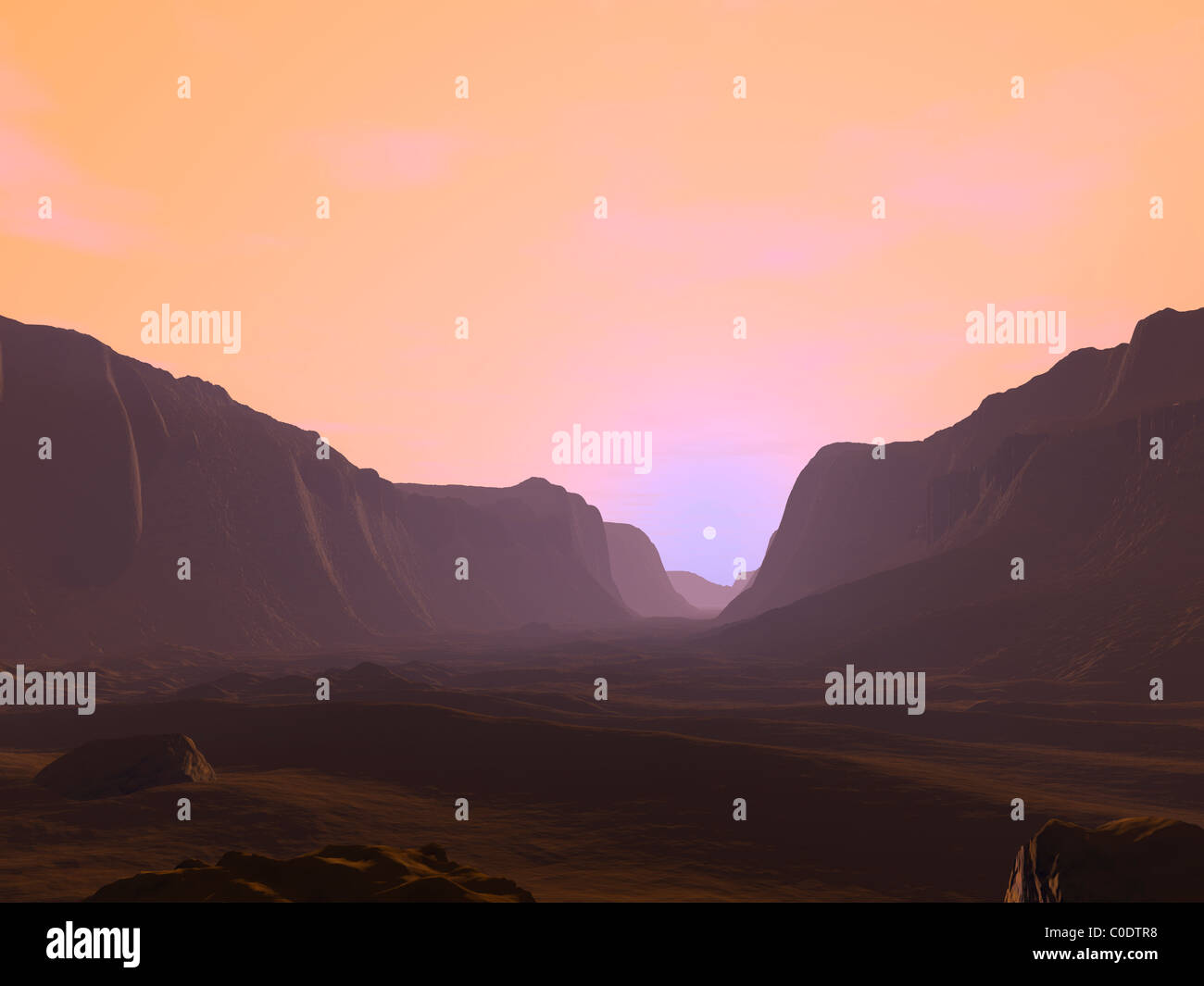 Illustration of a martian sunrise from within a deep canyon. - Stock Image