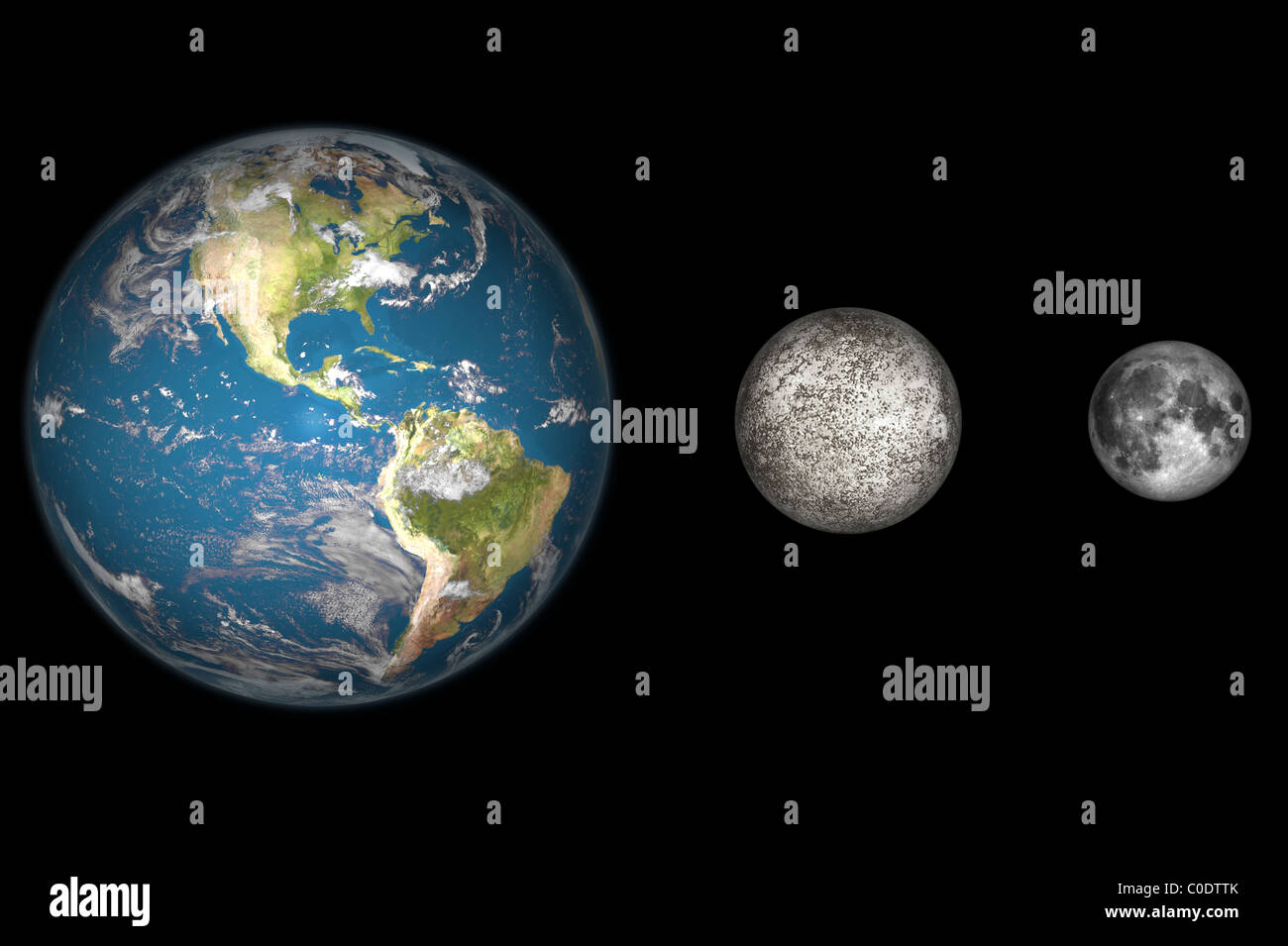 Artist's concept of the Earth, Mercury, and Earth's moon to scale. - Stock Image