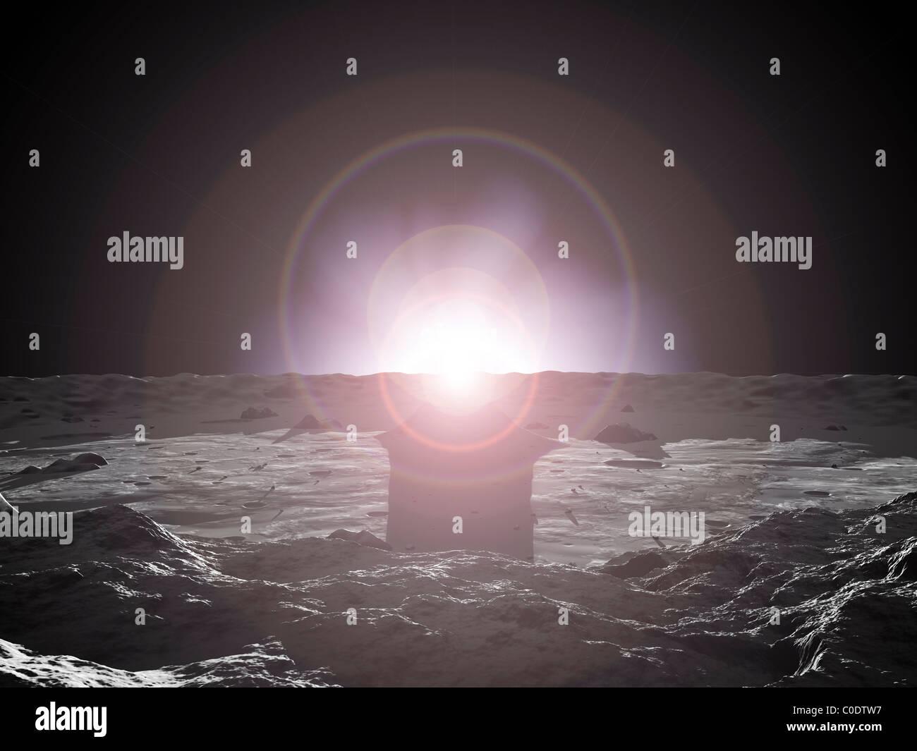 Sunrise on Mercury. - Stock Image