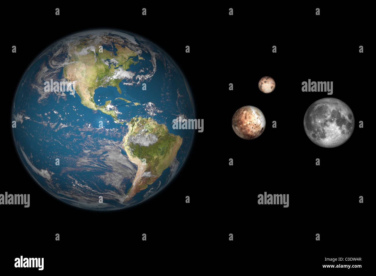 Artist's concept of the Earth, Pluto, Charon, and Earth's moon to scale. - Stock Image