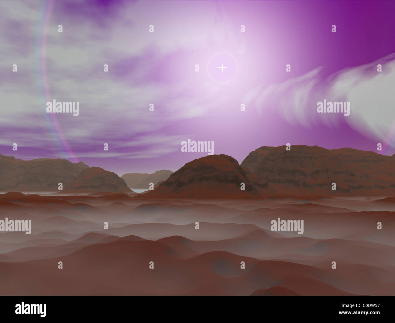 Artist's concept of the atmosphere on Pluto. - Stock Image