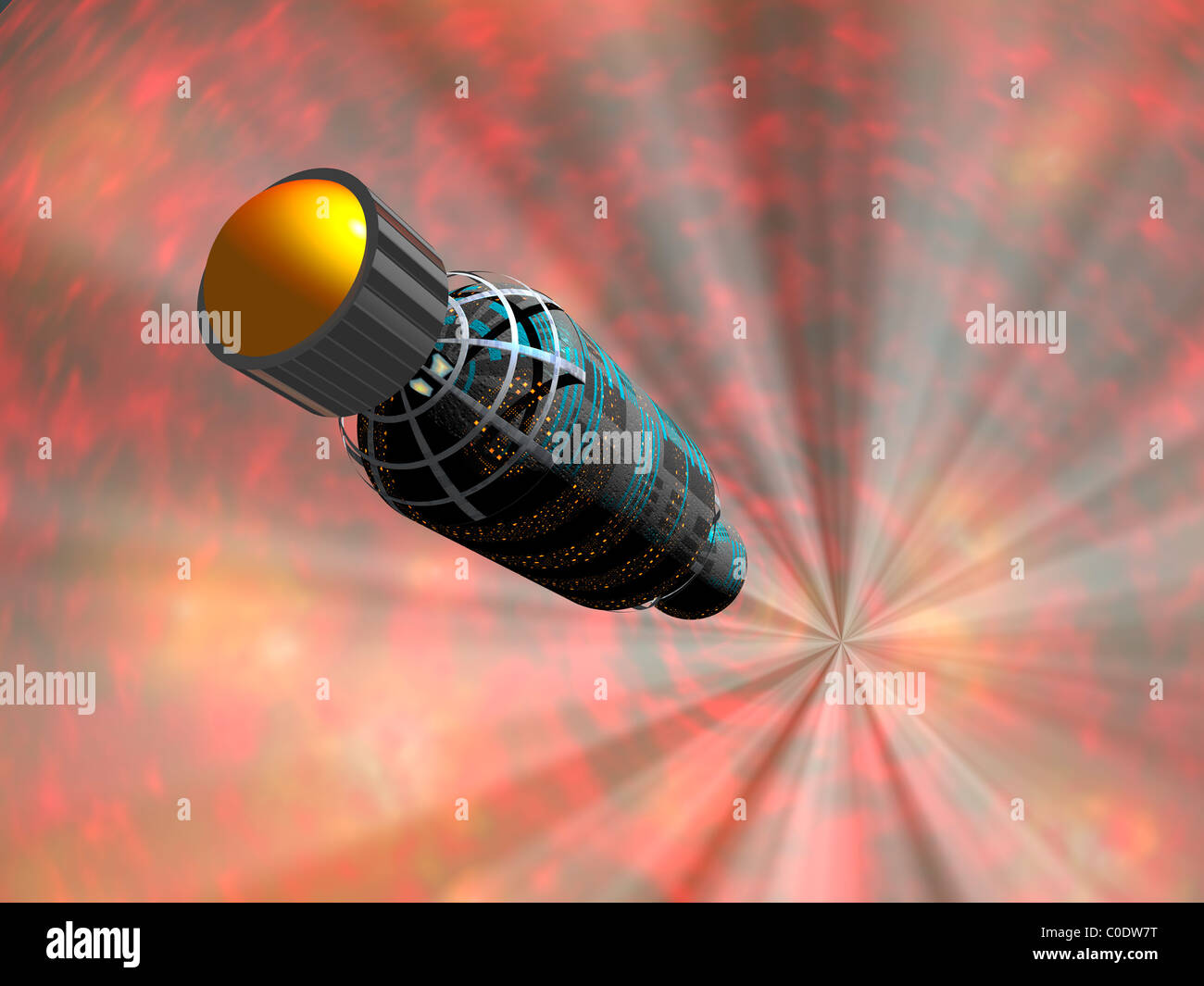 Illustration of a spacecraft travelling faster than the speed of light. - Stock Image
