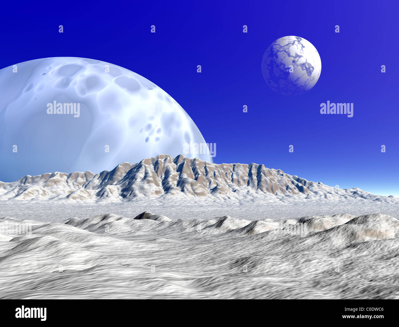 Artist's concept of an alien planetary system. - Stock Image