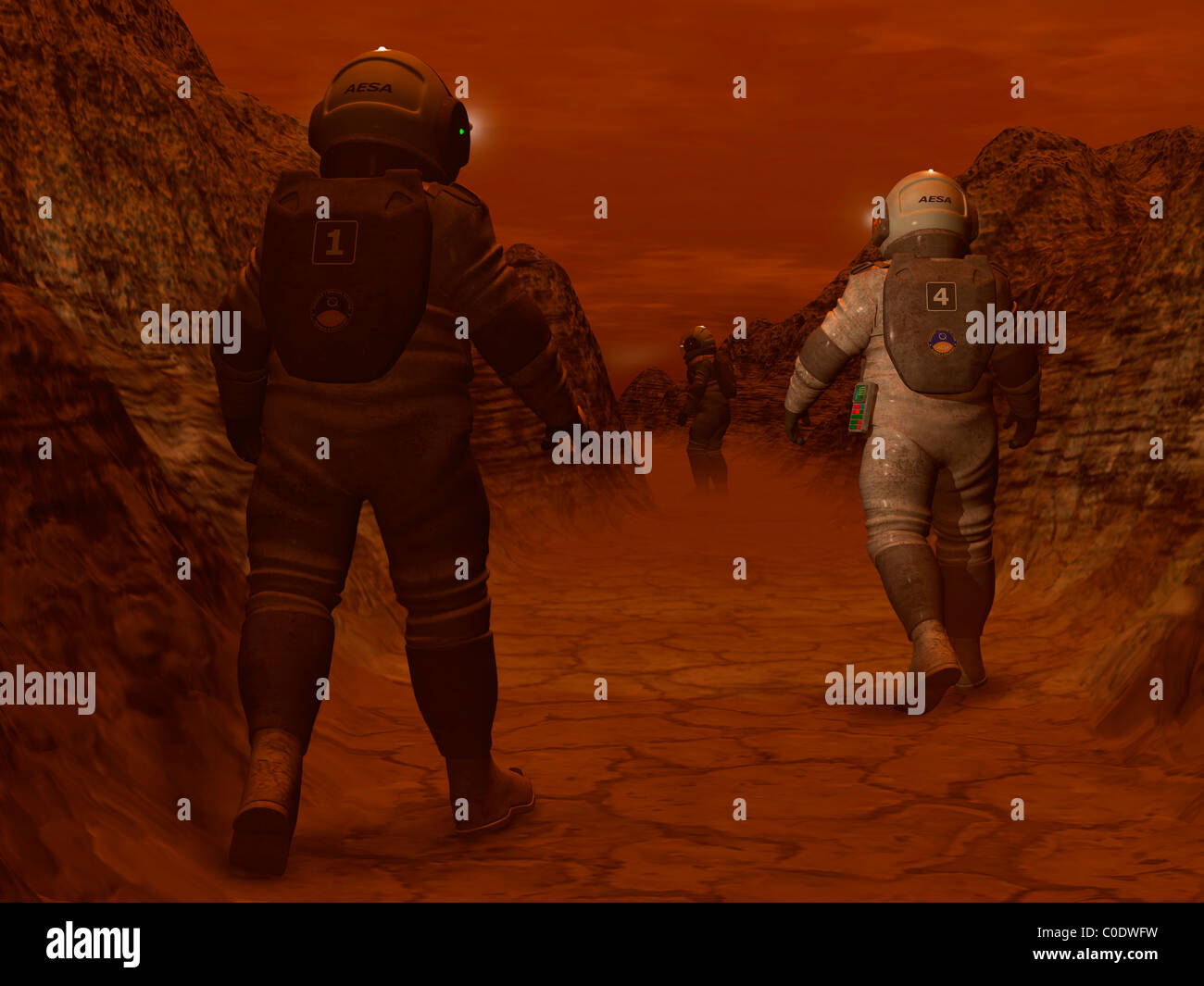 Artist's concept of astronauts exploring a dry gully on Saturn's moon Titan. - Stock Image