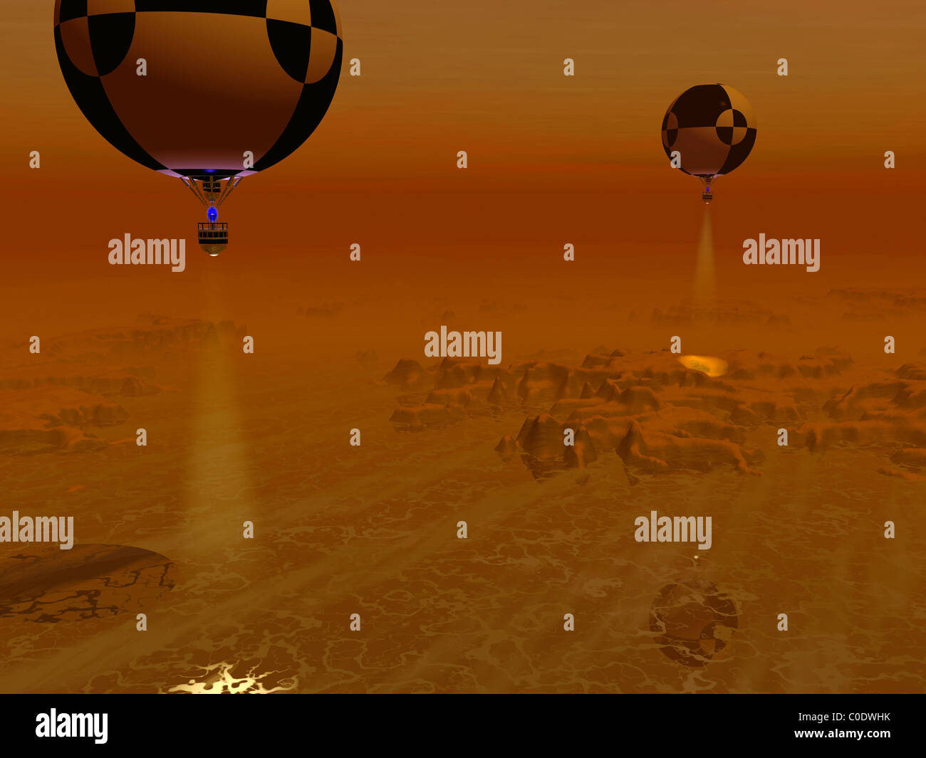 A pair of balloon-borne probes leisurely survey the surface of Titan. - Stock Image