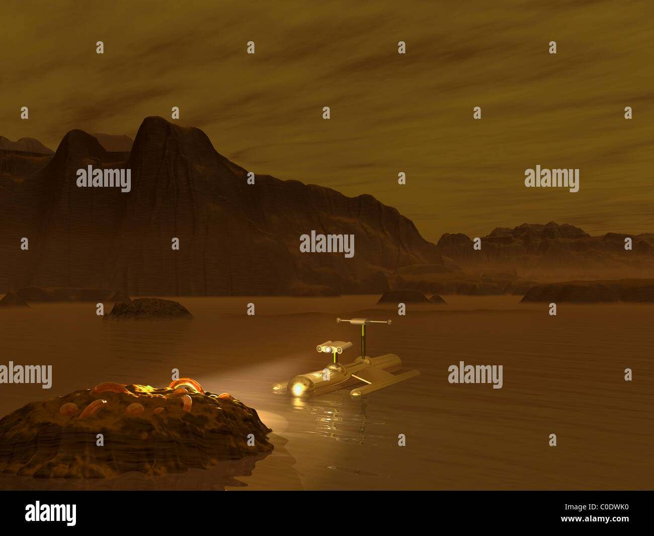 Artist's concept of a robotic probe exploring a frigid ethane lake on Titan. - Stock Image