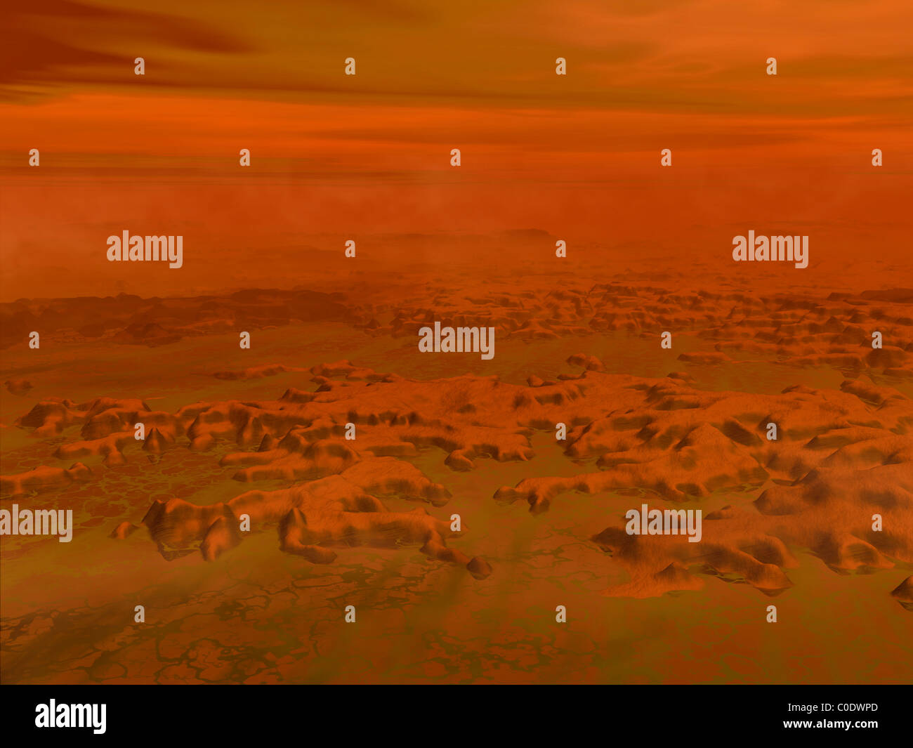 Artist's concept of the surface of Saturn's moon Titan. - Stock Image