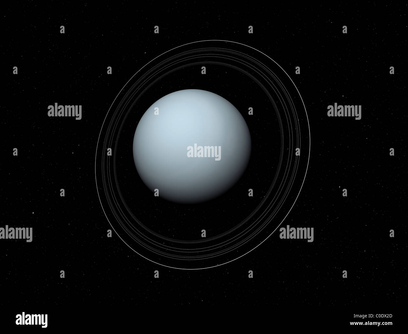 Artist's concept of Uranus and its rings. - Stock Image